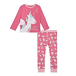 bluezoo - Girls' pink unicorn print pyjama set