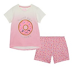 bluezoo - Girls' pink donut print pyjama set