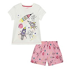 bluezoo - Girls' white space cat print pyjama set