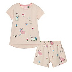 bluezoo - Girls' pink bunny applique pyjama top and shorts