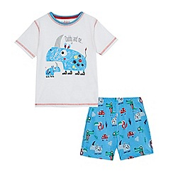 bluezoo - Boys' white and blue 'Daddy and me' rhino print pyjama set