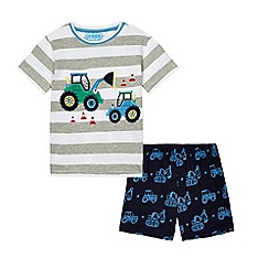 bluezoo - Boys' grey striped tractor applique pyjama set