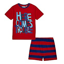 bluezoo - Boys' red 'Here Comes Trouble' pyjama set