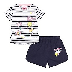 bluezoo - Girls' grey striped badge print pyjama set