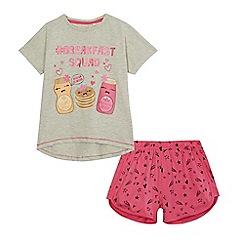 bluezoo - Girls' grey and pink 'Breakfast Squad' print pyjama set