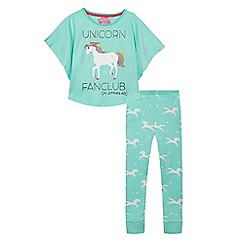 bluezoo - Girls' green 'Unicorn Fanclub pyjamas