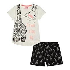 bluezoo - Girls' white and black giraffe pyjama set