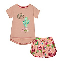 bluezoo - Girls' light pink cactus print pyjama set