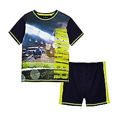 bluezoo - Boys' navy football print pyjama set