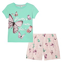 bluezoo - Girls' green and pink butterfly print pyjama set