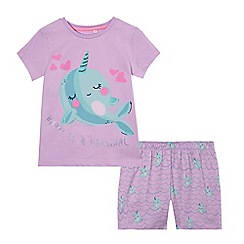 bluezoo - Girls' lilac narwhal print pyjama set