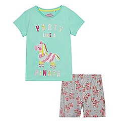 bluezoo - Girls' multi-coloured pinata pyjama t-shirt and shorts set