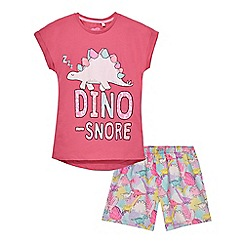 bluezoo - Girls' pink dinosnore pyjama set