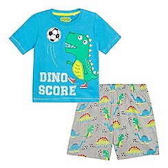 bluezoo - Boys' blue football dinosaur applique pyjama set