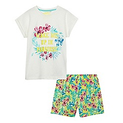bluezoo - Girls' multi-coloured tropical floral pyjama set