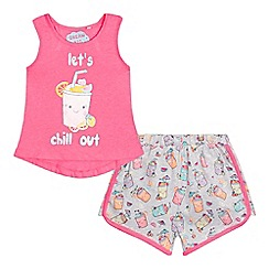 bluezoo - Girls' pink 'Let's Chill Out' print pyjama set