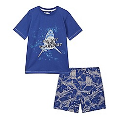 bluezoo - Boys' blue shark print pyjama set