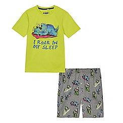 bluezoo - Boys' multi-coloured roar in my sleep t-shirt and shorts pyjama set