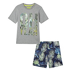 bluezoo - Boys' grey tropical 'Oh Yeah' print pyjama set