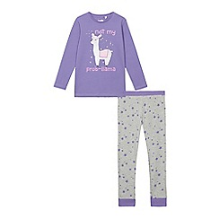 bluezoo - Girls' purple 'Not My Prob-llama' pyjama set