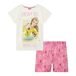 Disney Princess - Girls' pink 'Beauty and The Beast' slogan print pyjama set