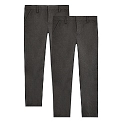 Debenhams - Pack of two boys' grey 'Teflon' trousers