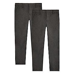 Debenhams - Pack of two boys' grey 'Teflon' trousers