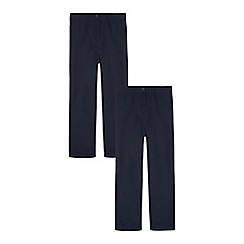 Debenhams - Pack of two girls' navy slim fit trousers