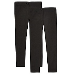 Debenhams - Pack of two girls' black slim fit trousers