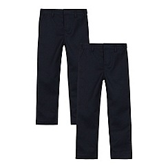 Debenhams - Pack of two boys' navy slim fit trousers
