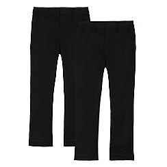 Debenhams - Pack of two boys' black slim fit trousers