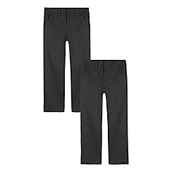 Debenhams - Pack of two boys' grey slim fit trousers