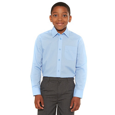 Debenhams - Boy+s pack of two bright blue school uniform long sleeved shirts