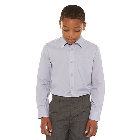 Debenhams - Boy+s pack of two grey school uniform long sleeved shirts