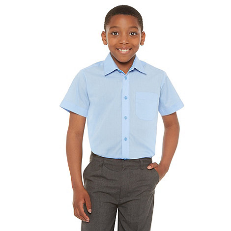 Debenhams - Boy+s pack of two bright blue school uniform short sleeved shirts