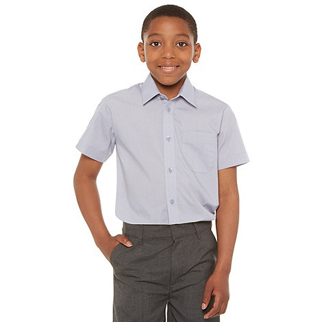 Debenhams - Boy+s pack of two grey school uniform short sleeved shirts