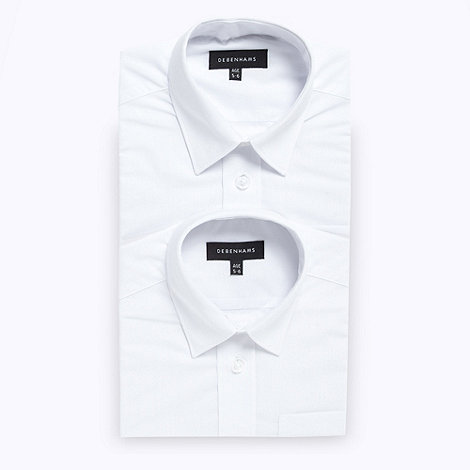 Debenhams - Boy+s pack of two white school uniform long sleeved shirts