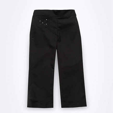Debenhams - Girl+s black floral embroidered school uniform trousers