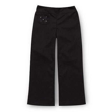 Debenhams - Girl+s grey embroidered pocket school uniform trousers