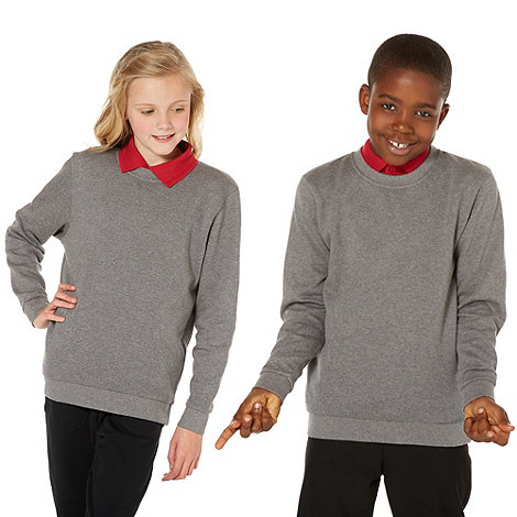 Debenhams - Unisex grey school uniform crew neck sweater