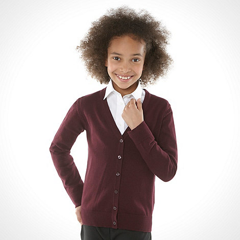 Debenhams - Girl+s maroon v neck school uniform cardigan
