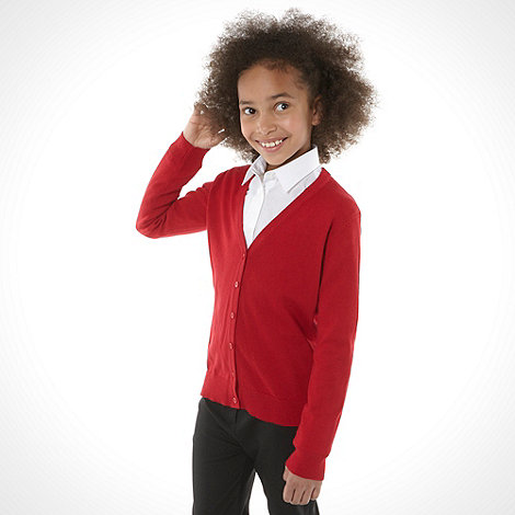 Debenhams - Girl+s red v neck school uniform cardigan