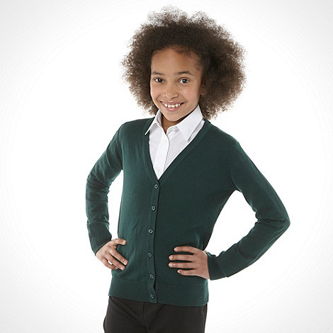 Debenhams - Girl+s green v neck school uniform cardigan