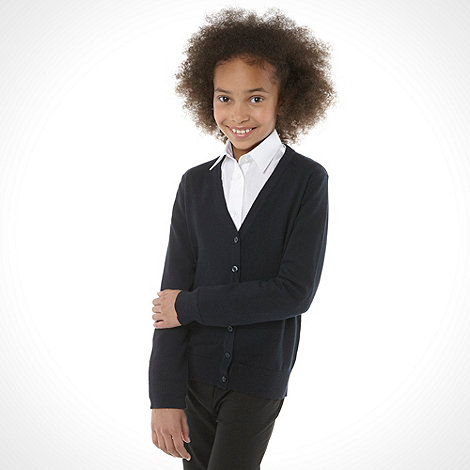 Debenhams - Girl+s navy v neck school uniform cardigan