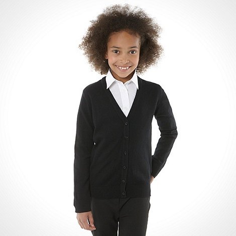 Debenhams - Girl+s black v neck school uniform cardigan