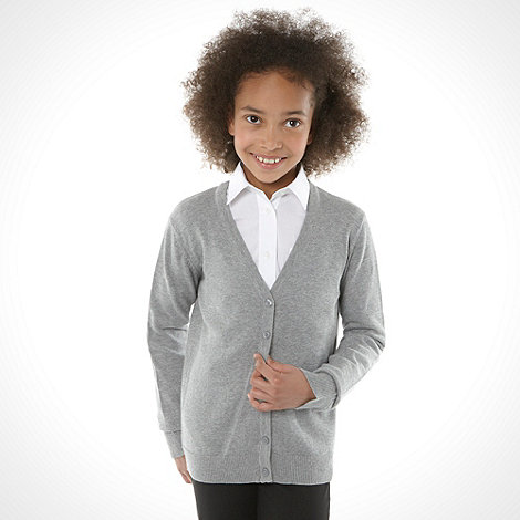 Debenhams - Girl+s grey v neck school uniform cardigan