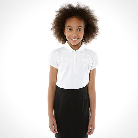 Debenhams - Girl+s white fashion school uniform polo top