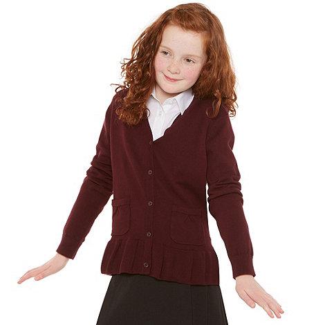 Debenhams - Girl+s wine school uniform peplum cardigan