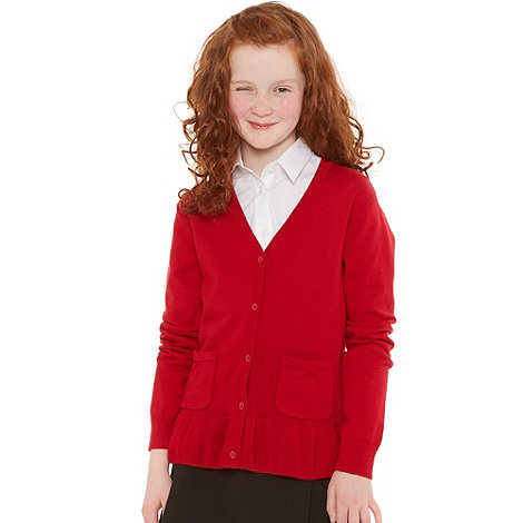 Debenhams - Girl+s red school uniform peplum cardigan