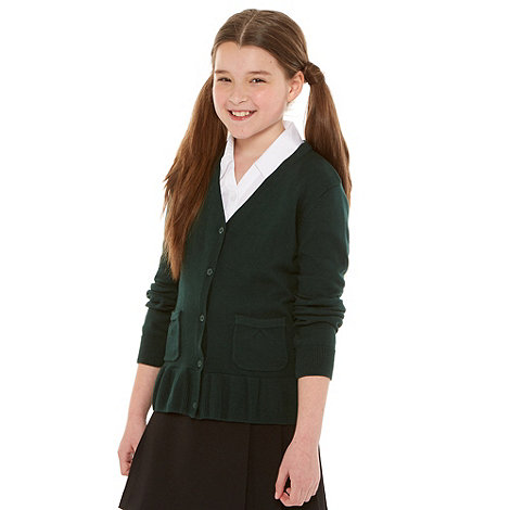 Debenhams - Girl+s green school uniform peplum cardigan